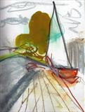 Beached Dinghy by Joanna Brendon, Drawing, mixed media