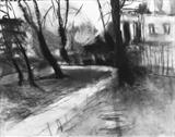 Chiswick House Gardens No.2 by Joanna Brendon, Drawing, Charcoal on Paper