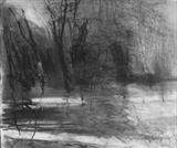 Contemplating the River 1 by Joanna Brendon, Drawing, Charcoal on Paper