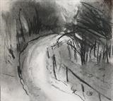 Copse Study 1 by Joanna Brendon, Drawing, Charcoal on Paper