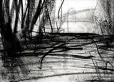 Dusk, Coniston Water by Joanna Brendon, Drawing, Giclee print of original charcoal drawing