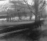 Frosty Morning, Richmond Park by Joanna Brendon, Drawing, Charcoal on Paper