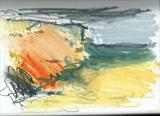 Golden Rock 2 by Joanna Brendon, Drawing, mixed media