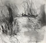 Lake Study 1 by Joanna Brendon, Drawing, Charcoal on Paper