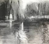 Lake Study 2 by Joanna Brendon, Drawing, Charcoal on Paper