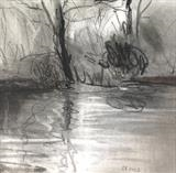 Lake Study 3 by Joanna Brendon, Drawing, Charcoal on Paper