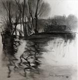 Lake Study 4 by Joanna Brendon, Drawing, Charcoal on Paper