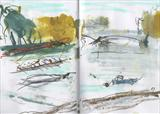 Rowers by Joanna Brendon, Drawing, mixed media