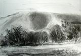 South Downs from Wootton Manor by Joanna Brendon, Drawing, Charcoal on Paper