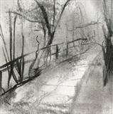 The Fence, Richmond Park by Joanna Brendon, Drawing, Charcoal on Paper