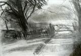 The Garden, Wootton Manor by Joanna Brendon, Drawing, Charcoal on Paper