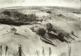 The Trundles, West Sussex, No.1 by Joanna Brendon, Drawing, Charcoal on Paper
