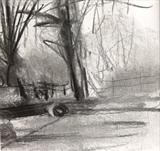 Two Logs by Joanna Brendon, Drawing, Charcoal on Paper