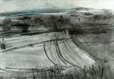 View over Wootton by Joanna Brendon, Drawing, Charcoal on Paper with watercolour