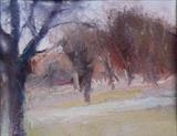 Walking in Richmond Park 1 by Joanna Brendon, Painting, Oil on Paper